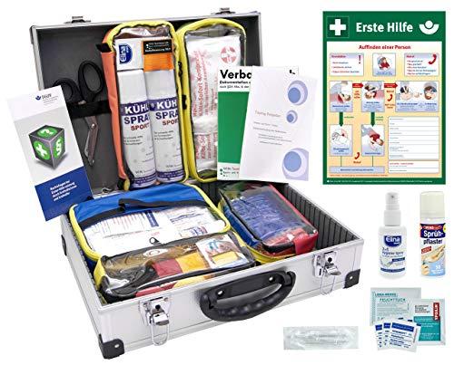 PROFI-SPORT-BETREUERKOFFER inkl. Erste-Hilfe-Aushang, 5 Modultaschen, ausreichendes Verbandmaterial (DIN 13157) + Sportausstattung (Kühlspray, Kinesio- und Sporttapes uvm.)