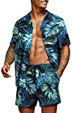 COOFANDY Men's Casual Floral Print Shirt Set Short Sleeve Tropical Leaves Shirt