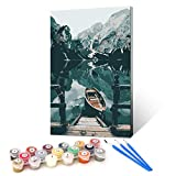 Ginkko Paint by Numbers for Adults Kids Beginners with Wooden Frame Easy Acrylic on Canvas 9x12 inch with Paints and Brushes, Boat on Mountains Lake, Gift Package(Include Framed)