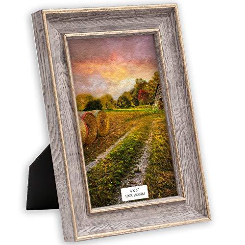 TERESA'S COLLECTIONS Plastic fotolijst Home Fotolijst 10 x 15 cm Plastic fotolijst Goudkleurige gouden fotolijst Vintage fotolijst met acrylglas voor ophanging of montage voor