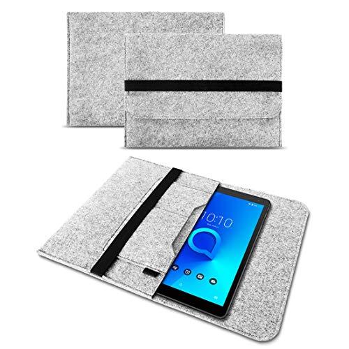 UC-Express Tablet Tasche Alcatel 1T 10 Hülle Filz Hülle Sleeve Schutz Cover Schutzhülle Etui, Farbe:Hell Grau
