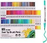 BabaBub Dual Tip Brush Pens Colouring Pens 72 Colour Art Markers Brush Tip