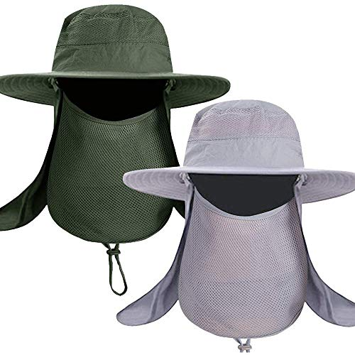 Fishing Bucket Hat for Men,Waterproof Wide Brim Boonie Sun Hat UV Protection with Removable Face Mask & Neck Flap (2pack-Light Gray & Army Green)