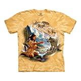 The Mountain Unisex-Erwachsene Dreams of Wolf Spirit T-Shirt, gelb, Small