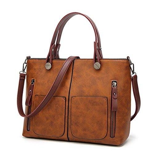 Las mujeres Vintage Bolso femenino Totes causal para compras diarias universales Dames Bolso marrón
