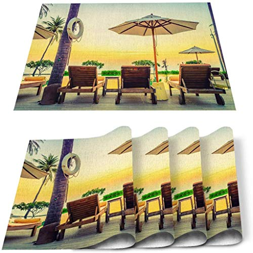 12 x 18 Inches Set of 6 Cotton and Linen Place mat, Summer Vacation Sunset Umbrella Deck Chair Stain Resistant Non-Slip Table Mats for Kitchen Retro Lifebuoy Beach