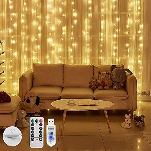 Cortina de Luz 3M*3M con 300Leds, 8 Modos de Luces con Control Remoto, Cadena de Luces Decorativa Impermeable para Usar en el Hogar y...