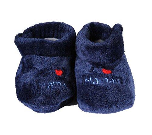 3 mois Baby i love maman papa garçon fille chaussettes//chaussons chausson bleu rose un nouveau-né