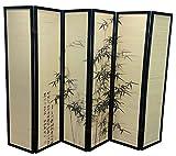 PEGANE Biombo Madera Negro y bambú con Motivos Vegetales 6 Paneles - 240 cm