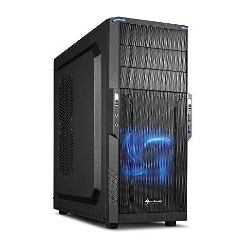 Sharkoon T3-V - Case per PC con chiusura rapida, 1 ventola LED da 120 mm preinstallata, USB 3.0