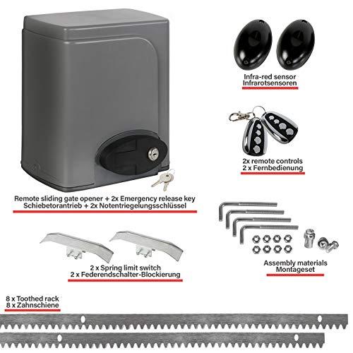 TIMBERTECH® Motorisation pour Portail Coulissant - Kit : 2 Télécommandes (Portée env. 30 m) et Crémaillères Incluses, max. 600 kg, 180 W - Ouvre-Porte Automatique, Moteur des Portes Coulissantes
