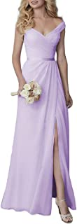 Sponsored Ad - Lover Kiss Women's Cute V-Neck Chiffon Long Bridesmaid Dresses Formal Evening Dress with Slit