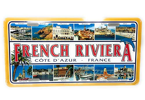 PLAQUE DE Rue Metal en Relief Metal - French Riviera - Dimension 30cmX15cm