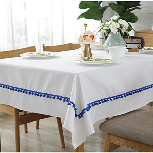 TUA Nordic eenvoudig puur wit dik tafelkleed blauw wollen bal stof