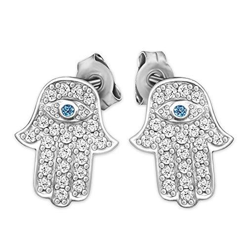 CLEVER SCHMUCK Silberne Damen Ohrringe als Ohrstecker Fatima Hand 14 x 11 mm mit vielen Zirkonia weiß mit sehendem Auge Stein blau Sterling Silber 925 für Damen