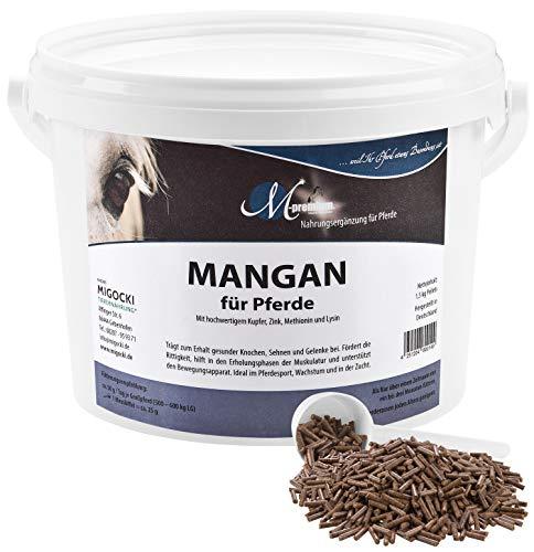 MIGOCKI Mangan Pferd – 1,5 kg – Premium Ergänzungsfuttermittel – Fördert die Rittigkeit und unterstützt die Erholungsphasen der Muskulatur und des Bewegungsapparates – Pellets