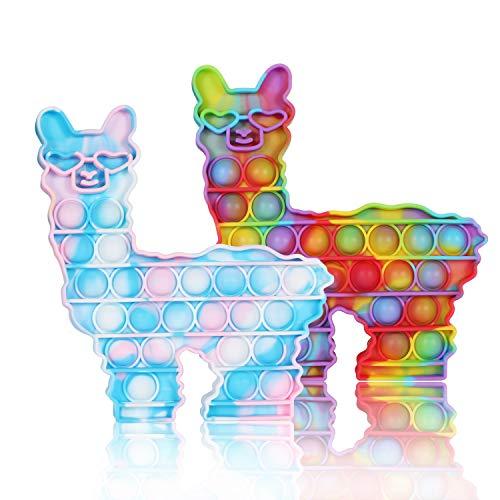 WHATOOK Push Bubble POP Sensorisches Zappeln Lama Spielzeug, Autismus Besondere Bedürfnisse Stressabbau und Anti-Angst Silikon Squeeze Alpaka Spielzeug Werkzeuge für Kinder und Erwachsene (2er Pack)
