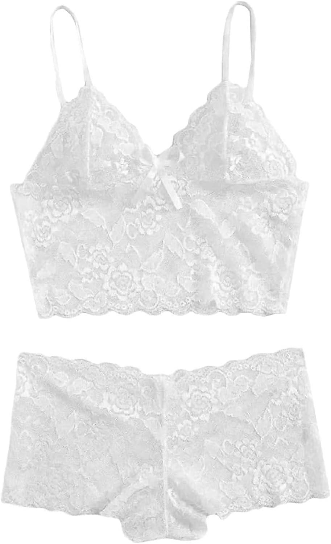 Lingerie for Women Sexy Lingerie Set Lingerie Plus Size 2 Piece Sleepwear Lace Cami with Short Sleep Lounge Pajama Set
