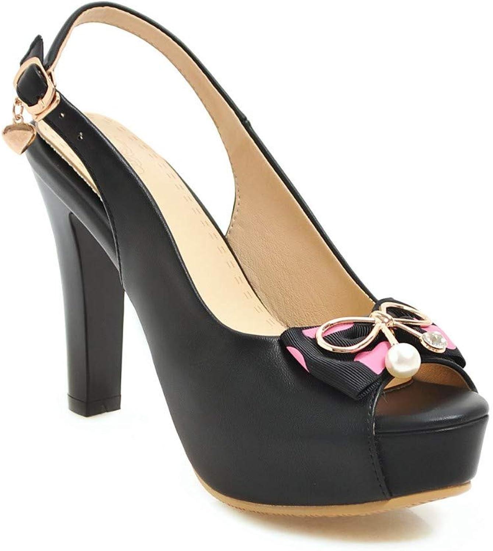 IWlxz Women's PU(Polyurethane) Summer Sandals Stiletto Heel Peep Toe Rhinestone Bowknot Buckle Black Beige Pink Wedding