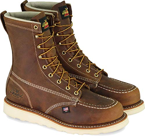 Thorogood 804-4478 Men's American Heritage 8' Moc Toe, MAXwear Wedge Safety Toe, Trail Crazyhorse - 10 D US