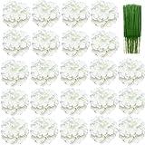 FagusHome 20cm Cabezas de Hortensia Artificiales Flores 24 Piezas Flores Artificiales con Largos Tallos Flores Falsas (24 Piezas)