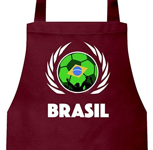 ShirtStreet Brasil Wappen Soccer Fussball WM Grill Baumwoll Schürze Kochschürze Latzschürze Fußball Brasilien, Größe: onesize,Burgund