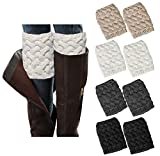 Loritta 4 Pairs Womens Boot Socks Winter Warm Crochet Knitted Boot Cuffs Topper Socks Short Leg Warmers Gifts,Style 01