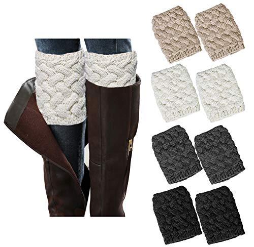 Loritta 4 Pairs Womens Boot Socks Winter Warm Crochet Knitted Boot Cuffs Topper Socks Short Leg Warmers Gifts,Style 01