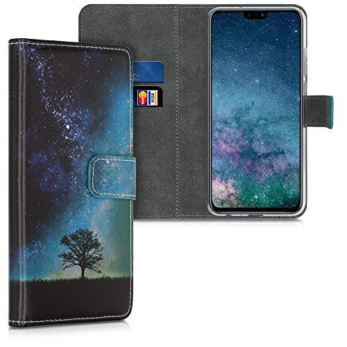 kwmobile Wallet Hülle kompatibel mit Honor 9X Lite - Hülle Kunstleder mit Kartenfächern Stand Galaxie Baum Wiese Blau Grau Schwarz
