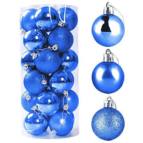 Bolas De Navidad, ZoneYan 24 Pcs Bolas para Árbol de Navidad, Adornos Navideños para Arbol Bolas, Bolas de Navidad Inastillable Plástico Decorativas Boda de Fiesta, Hogar, Decoración Vacaciones (Azul)