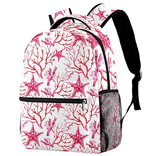 Mochilas Escolares Primaria Niña Bolsos para Mujer Bolsas de Viaje Mochila Casual Moda para Adolescente Infantil Estrella de mar Rosa y Coral