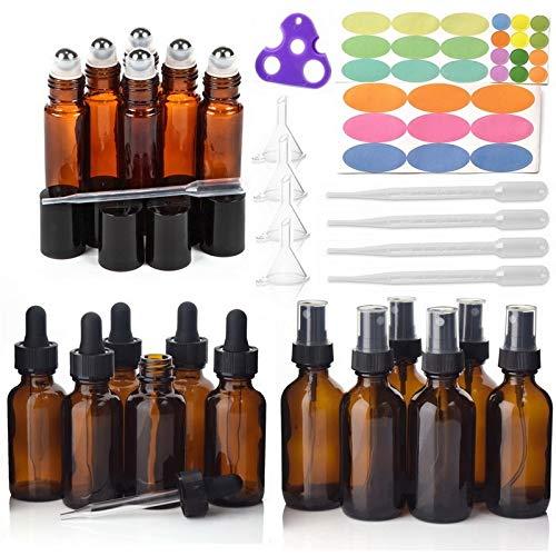 DEFTSHEEP Botellas de Aceite Esencial de Vidrio ámbar vacío de 18pcs con Rollo de Acero Inoxidable en Bolas de Rodillos y Accesorios para aceites Esenciales Perfume (Color : Amber)