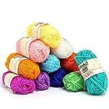LIHAO Mini Pelotes de Laine Multicolores en Acrylique pour Tricot, Les Loisirs Créatifs - (Lot de 12pcs, 26m/Rouleau, 15g/Rouleau)