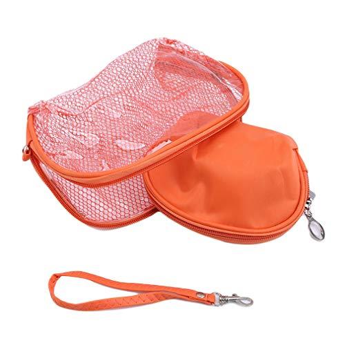 HENGSONG Sac de Maquillage 2Pcs Voyage en Sac Transparent PVC Imperméable Sacs de Cosmétique (Orange)