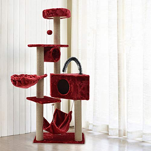 DjfLight Deluxe Cat Entertainment Tower, Climbing Frame Scratching Pod Tree Condominium, Activity Center Huisdier speelgoed met bal hanger speelgoed Pets Play Home Meubel