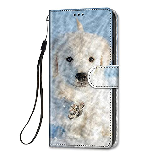 HopMore für Huawei P Smart 2021 Lederhülle, Stoßfest Handyhülle Klapphüllen mit Tasche Klappbar Flip Hülle Motiv Schutzhülle Leder Hülle Ledertasche mit Silikon Cover - H& Weiß