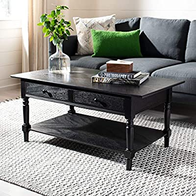 Distressed Black Finish Coffee Table with Drawers