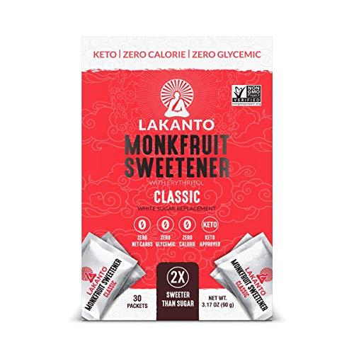 Lakanto Monkfruit Sweetener Packets - 1:1 White Sugar Replacement, Zero Net Carbs, Zero Glycemic, Zero Calorie, Keto, Sweeten on the Go, Coffee, Lemonade, Other Drinks, Desserts (Classic, 30 Count)