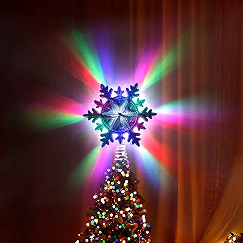 Mirooyu Tree Topper, Christmas Tree Topper Light, 10 Models Colorful Rotating Projector with Remote Controller, Silver Snowflake Tree Topper for Christmas Decorations (Silver Snowflake - 1)