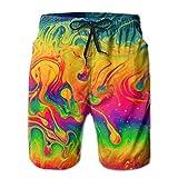 Yunilya Men's Funny Fantasy Color Neon Swim Trunks Quick Dry Summer Surf Beach Board Shorts/Side Pockets,L