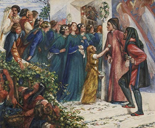 Dante Gabriel Rossetti Giclee Canvas Print Paintings Poster Reproduction(Beatrice Meeting Dante at A Marriage Feast) Large Size39 x 32.4 inches