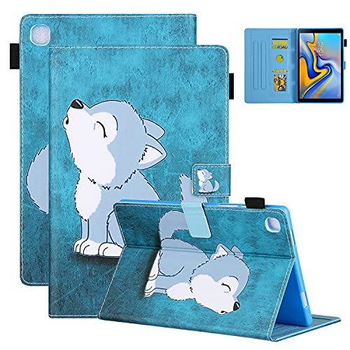 Coopts Galaxy Tab A8 2019 Case with Pen Holder, SM-T290/SM-T295/SM-T297 Cover, Colorful PU Leather Funny Case with Card Slots Anti-Slip Stand Book Cover for Samsung Galaxy Tab A 8.0' 2019, Cute Wolf
