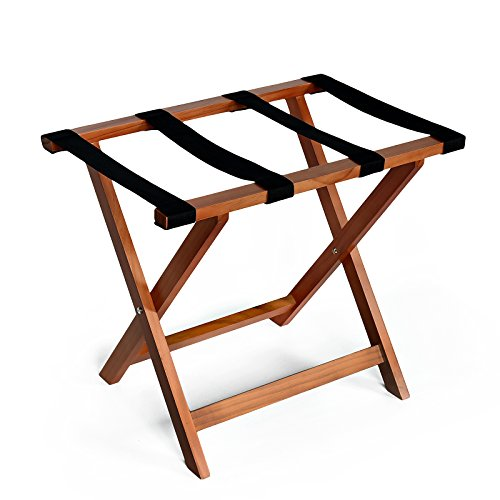 WELLAND Wood Foldable Luggage Rack Holder Luggage Stand for Suitcase for Home Bedroom Guestroom, Light Cherry