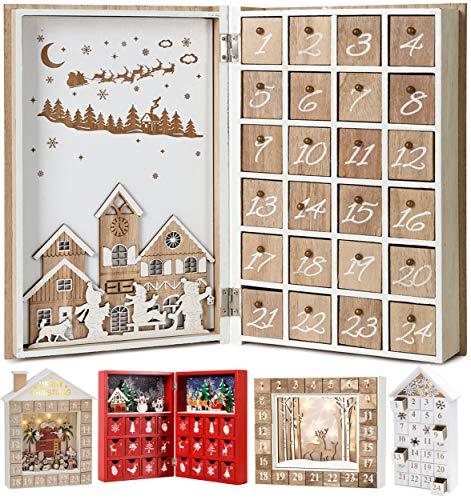 Brubaker Calendario dell'avvento Riutilizzabile in Legno da riempire - Libro Merry Christmas - Calendario Natalizio Fai da Te 19,6 x 7,5 x 30 cm