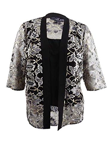 Alex Evenings Womens Plus Embroidered Floral Twinset Black 2X