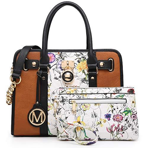 Women Handbags Purses Satchel Bags Top Handle Work Tote Shoulder Bags with Matching Wallet (White flower/Brown)