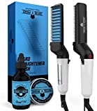 Beard Straightener Brush, Oil & Balm Grooming Kit for Men | Ionic Beard Straightening Comb for Detangling & Volumizing | Portable Electric Heating Tool/Anti-Scald Function | Great Male Gift Idea