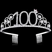 BABEYOND Crystal Birthday Tiara Crown Princess Birthday Crown Hair Accessories Happy 16/18/20/30/40/50/60/70/80/90th Birthday Crown Tiara for Women