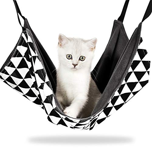 猫 ハンモック ペットベット ゲージ用 猫はんもっく 遊び場 昼寝 日向ぼっこ 洗濯可能 通気性抜群 両面使用 冬夏兼用 金具丈夫 椅子の下用 中小型 耐荷重8KG 55*43cm (白黒の三角柄)