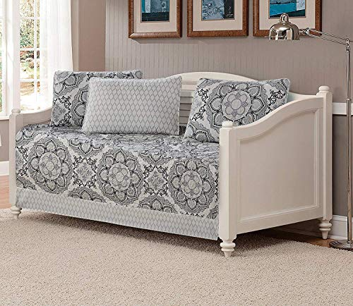 Fancy Collection 5pc Day Bed Cover Modern Reversible Grey New (Floral Grey)